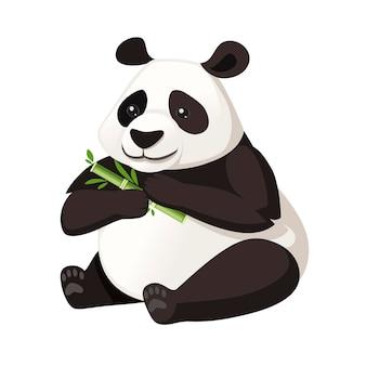 Ładny duży panda siedzieć na podłodze i trzyma bambusa gałąź kreskówka projekt płaski wektor ilustracja.