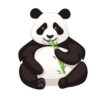 Ładny duży panda siedzieć na podłodze trzyma bambus i jeść gałąź ilustracja kreskówka zwierzę projekt płaski wektor.
