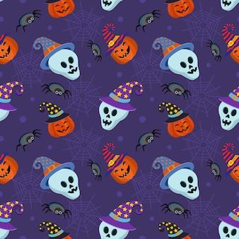 Ładny dynia halloween z czaszki i pajęczyna wzór.