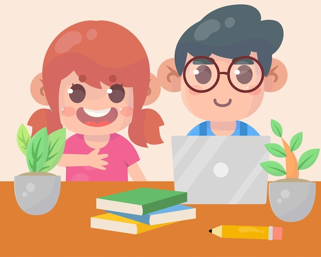 Ładny dzieciak chłopiec i dziewczynka za pomocą laptopa