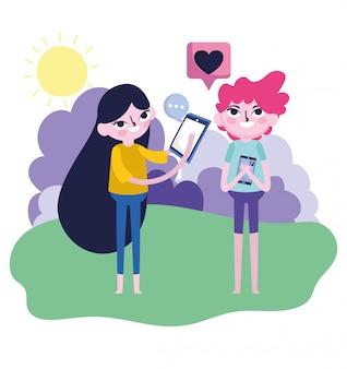 Ładny dziewczyna i chłopak pomysł na smartfona rozmawiać miłość ustawienie wiadomości mediów społecznościowych