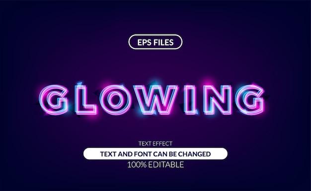 Ładny efekt edytowalny tekstu świecącej linii neonowej lampy