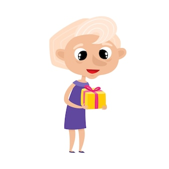 Ładny elegancki babcia w stylu kreskówka na białym tle. ilustracja szczęśliwa stojąca stara kobieta z prezentem