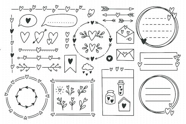 Ładny element dziennika punktorów gryzmoły z sercami, motywem miłości. ręcznie rysowane banery i znaki do notebooka, terminarza lub pamiętnika. ramki, obramowania, winiety, przekładki, notatki, kolekcja list.ilustracja wektorowa