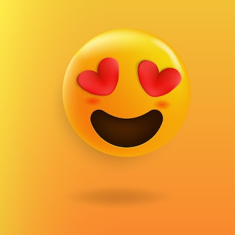 Ładny emoji kochające oczy serce
