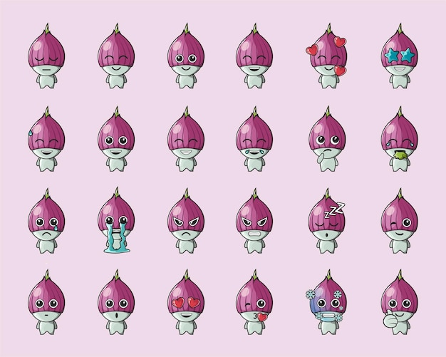 Ładny emotikon warzyw cebuli, na logo, emotikon, maskotka, plakat