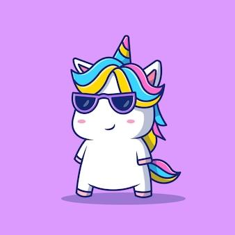 Ładny fajny jednorożec w okularach ikona ilustracja kreskówka. koncepcja ikona moda zwierząt na białym tle. płaski styl kreskówki