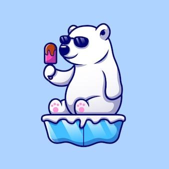 Ładny fajny niedźwiedź polarny jedzenie lodów popsicle na lodzie ikona ilustracja kreskówka. ikona karmy dla zwierząt na białym tle. płaski styl kreskówki
