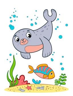 Ładny foka kreskówka podwodne. foka clipart ilustracji wektorowych