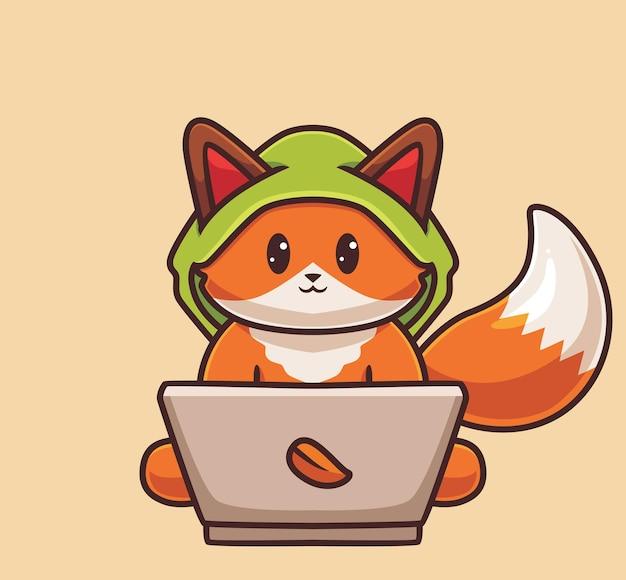 Ładny fox haker laptop na białym tle kreskówka nauka technologia ilustracja koncepcja płaski styl