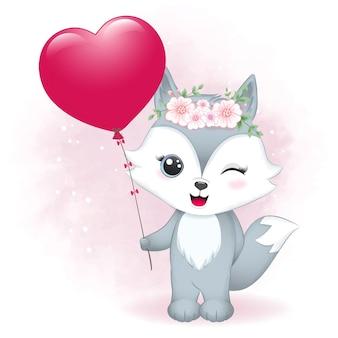 Ładny fox trzymając serce balon walentynki ilustracja