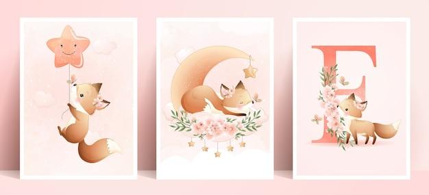 Ładny foxy doodle z ilustracja kwiatowy zestaw