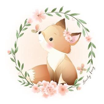 Ładny foxy doodle z kwiatową ilustracją