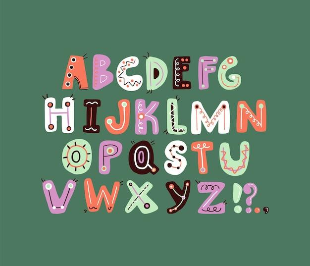 Ładny funky list alfabetu kolorowe i figlarne litery