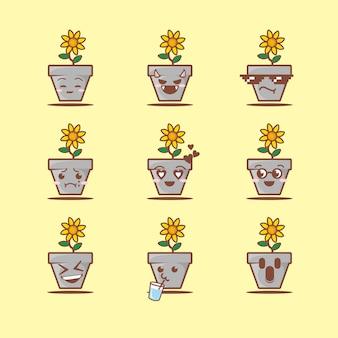 Ładny garnek i kwiat z twarzą, płaski styl kreskówki