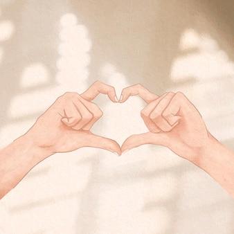 Ładny gest ręki serca estetyczny post w mediach społecznościowych
