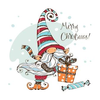 Ładny gnom bożonarodzeniowy z prezentami