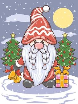 Ładny gnome gospodarstwa jingle bells - christmas ilustracji