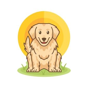 Ładny golden retriever pies ikona ilustracja kreskówka