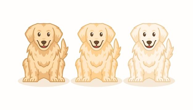 Ładny golden retriever pies ikona kreskówka zestaw ilustracji