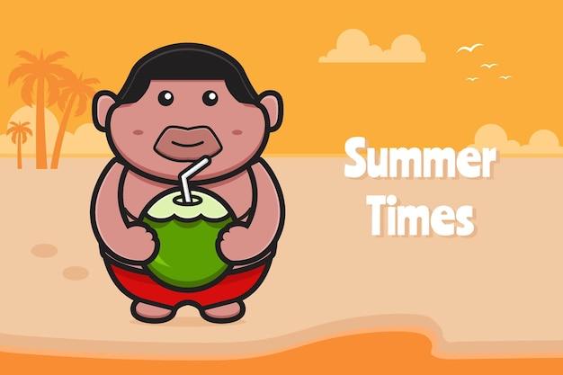 Ładny gruby chłopiec trzyma kokos z letnią pozdrowieniem ikona ilustracja kreskówka transparent.