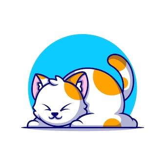 Ładny gruby kot śpi kreskówka ikona ilustracja. koncepcja ikona natura zwierząt na białym tle. płaski styl kreskówki