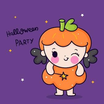 Ładny halloween dziewczyna kreskówka trzymając magiczną różdżkę kawaii ręcznie rysowane