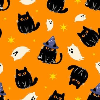 Ładny halloween puszysty czarny kot wzór tła wektor wzór