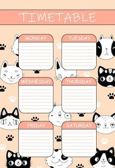 Ładny harmonogram dla dzieci z kotami i łapami w stylu cartoon doodle różowy rozkład jazdy z uroczymi zwierzętami