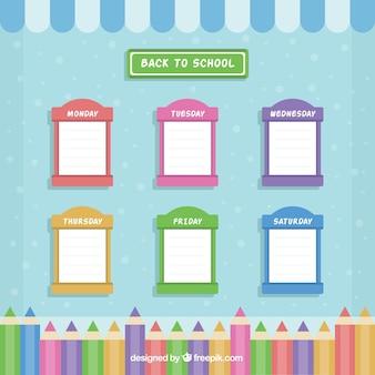 Ładny harmonogram szkoły kolorowych okien
