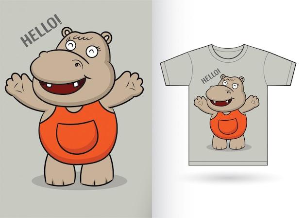 Ładny hipopotam kreskówka na koszulkę