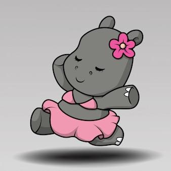 Ładny hipopotam w obozie wektor ilustracja projektu