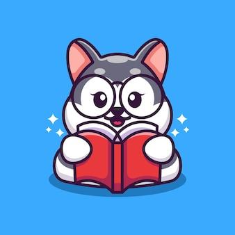 Ładny husky czytanie książki kreskówka