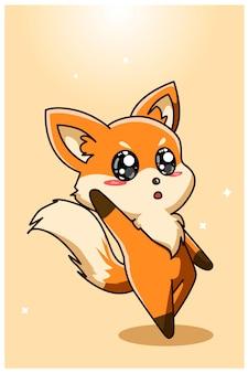 Ładny i ładny rysunek odręczny lis dziecka