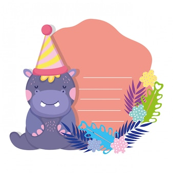 Ładny i mały charakter hipopotam z kapeluszem strony