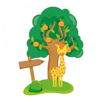 Ładny i mały żyrafa charakter