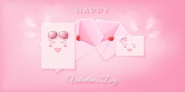 Ładny i piękny różowy list emoji na baner walentynkowy