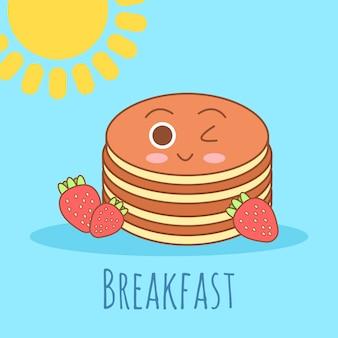 Ładny i prosty ilustracja ramki z omletem, oliwą z oliwek, jajka, mleko, sól, cebula, grzyby