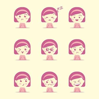 Ładny i urocza dziewczyna twarz zestaw ikon, płaski styl kreskówki