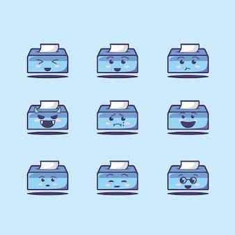 Ładny i uroczy zestaw ikon tkanki, płaski styl kreskówki