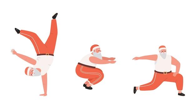 Ładny i zabawny święty mikołaj robi ćwiczenia sportowe