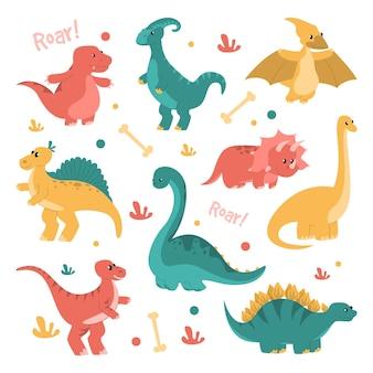 Ładny i zabawny zestaw dinozaurów na białym tle