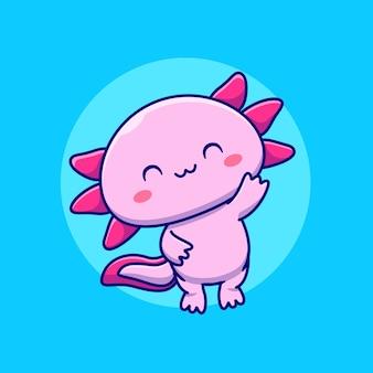 Ładny ilustracja kreskówka axolotl. koncepcja miłości zwierząt na białym tle. płaska kreskówka