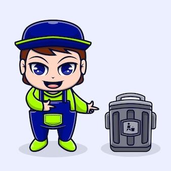 Ładny ilustracyjny zbieracz śmieci