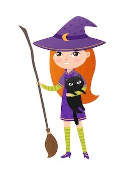Ładny imbir dziewczyna w stroju wiedźmy z miotłą trzyma czarnego kota. ilustracja wektorowa halloween