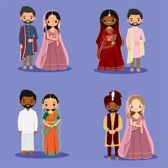 Ładny indyjski para w tradycyjnym stroju na projekt karty ślubu