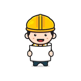 Ładny inżynier architekt trzymając papier szkic ikona ilustracja kreskówka. zaprojektuj na białym tle płaski styl kreskówki