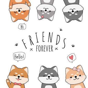 Ładny japoński pies shiba inu przyjaciele powitanie kreskówka doodle