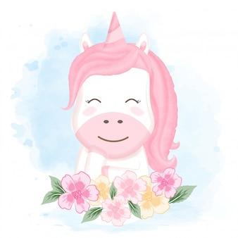 Ładny jednorożca i kwiatowy ręcznie rysowane kreskówki