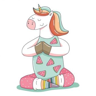 Ładny jednorożca w jodze stanowi postać z kreskówek zwierząt na białym tle.